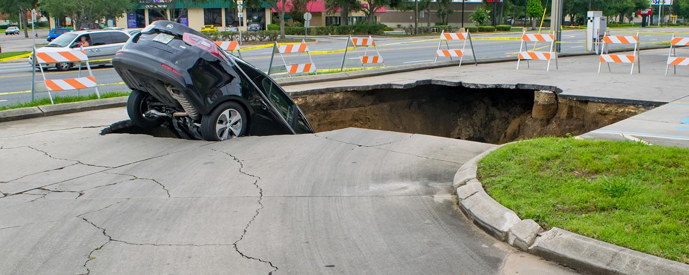Car in sinkhole